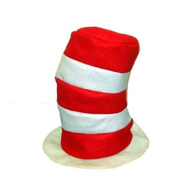 Red   White Striped High Felt Hat e90fb757495