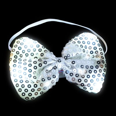 Flashing Silver Sequin Bow Tie