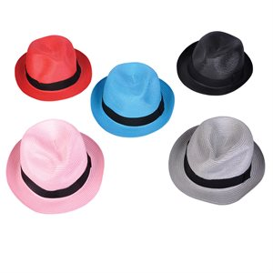 Assorted Plastic Straw Fedora Hats