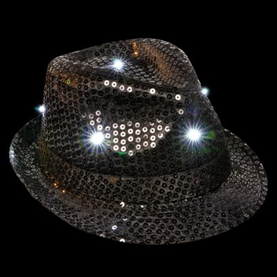 Flashing Black Sequin Fedora