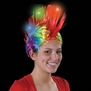 Flashing Rainbow Mohawk Wig