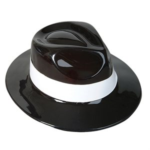 Black Plastic Gangster Hat