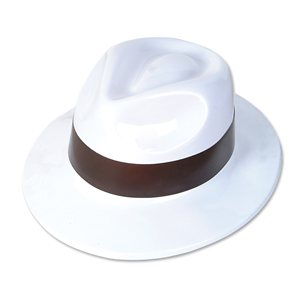 White Plastic Gangster Hat