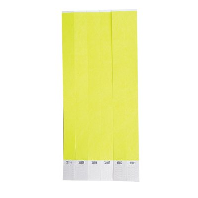 100 Yellow Tyvek Wristbands