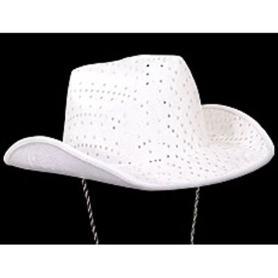White Felt Sequin Cowboy Hat