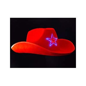 Light Up Red Cowboy Hat